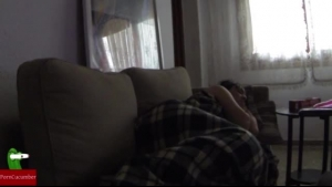 Naughty girl is sucking dick and getting stuffed with it, in her house, on the sofa