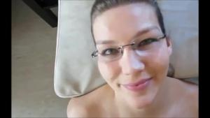 Mature blonde ejaculates all over a plate and her pregnant husband
