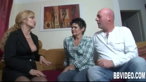 German milf, with short hair likes to see her naughty neighbors while they're on a vacation